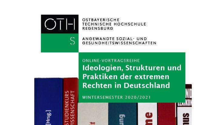 Auf weißem Hintergrund eine Reihe von Buchrücken mit Büchern aus dem Bereich extreme Rechte udn Rechtsextremismus. Darüber steht der Titel der Vortragsreihe: Ideologien, Strukturen und Praktiken der extremen Rechten in Deutschland