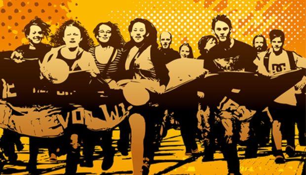 Eine Zeichnung von Jugen Menschen, die mit einem Banner bei einer Demonstration nach vorne rennen und Trommeln in der Hand halten.