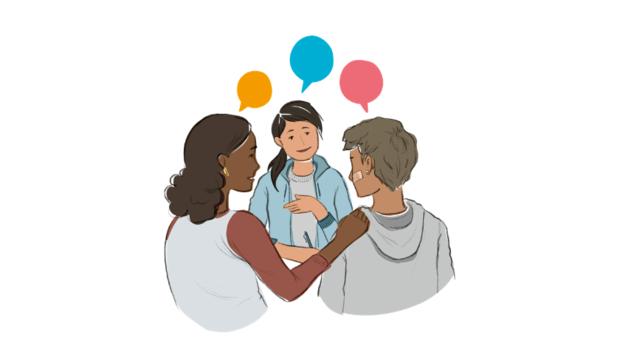 Eine Zeichnung von drei Personen, die miteinenader sprechen udn eine Frau legt ihren Arm auf die Schulter der zweiten Person. Ein Symbolbid für die BEratung und Unterstützung von der Beratungsstele BUD Bayern