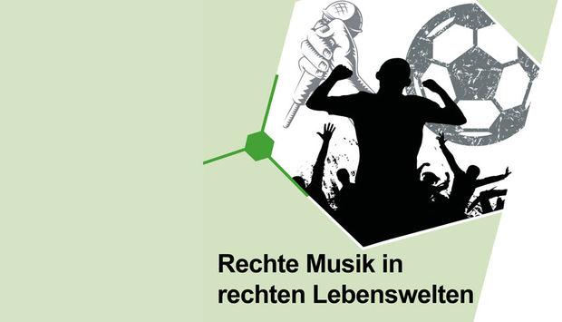 Ein mintgrüner Hintergrung und eine Silhouette einer Band mit Publikum. Das Bild ist ein Teil des Flyers zur Veranstaltung: Rechte Musik in rechten Lebenswelten