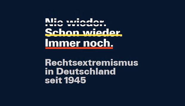 """Schwarzer Hintergrund mit Titel der Sonderausstellung """"Nie wieder. Schon wieder. Immer noch. Rechtsextremismus in Deutschland seit 1945""""."""