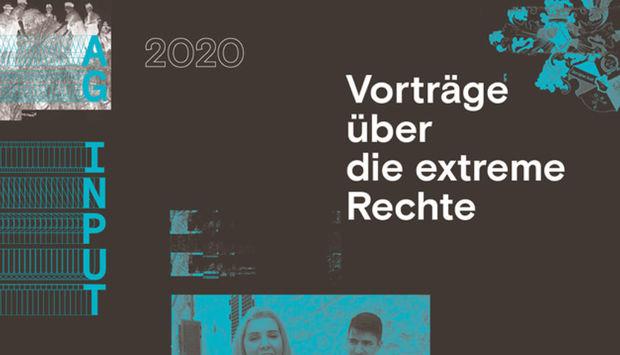 Ein Bildausschnitt der Veranstaltungsflyer der Ag Input in schwarz gehalten und in neonblauer Farbe den Schriftzug AG Input und Vprträge über die exreme Rechte