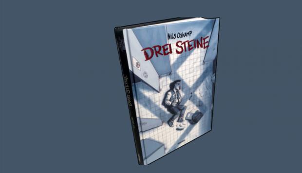 """Vor grauem Hintergrund sieht man das Buchcover der Publikation """"Die drei Steine"""". Darauf sieht man einen Jungen, der wohl zusammengeschlagen auf einem Fließenboden liegt. Darüber schwebt ein grüßes Hakenkreuz."""