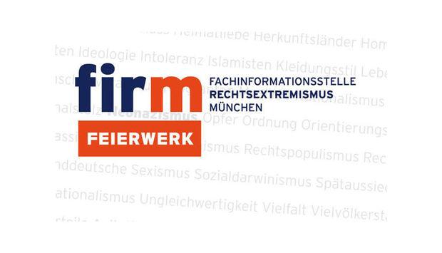 Das Logo der Fachinformationsstelle Rechtsextremismus in München sowie des Feierwerks.