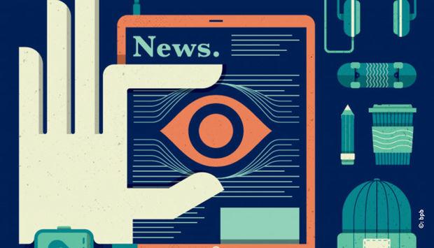 bunte gezueichnete computersymbole und eine Hand, die ein Auge hält. Das Wort News ist zu lesen.