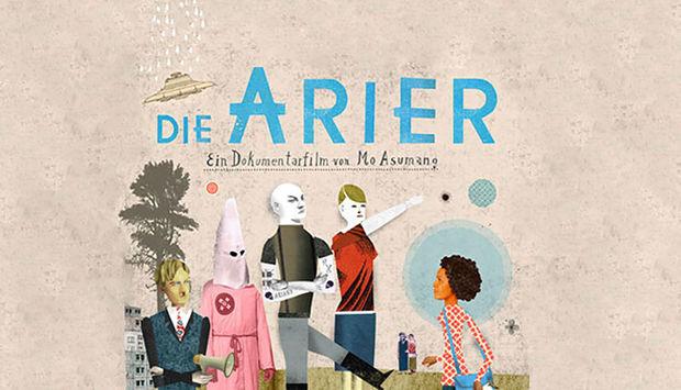 Illustrierter Flyer zum Film Die Arier, abgebildet sind mehrere Personen.