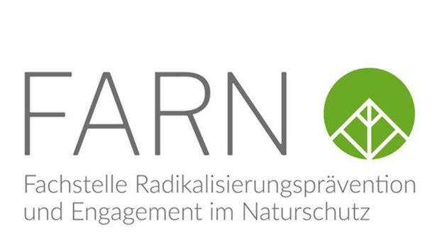 Das grüne Logo der Fachstelle Radikalisierungsprävention und Engagement im Naturschutz (FARN) auf weißem Hintergrund