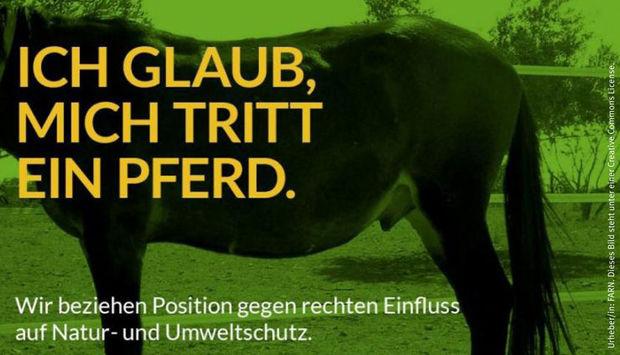 Vor grünem Hintergrund steht die hintere Hälfte eines Pferdes. Man sieht den Kopf nicht. In gelber Schrift steht: Ich glaub mich tritt ein Pferd. Wir beziehen Position gegen rechten Einfluss auf Natur- und Umweltschutz.