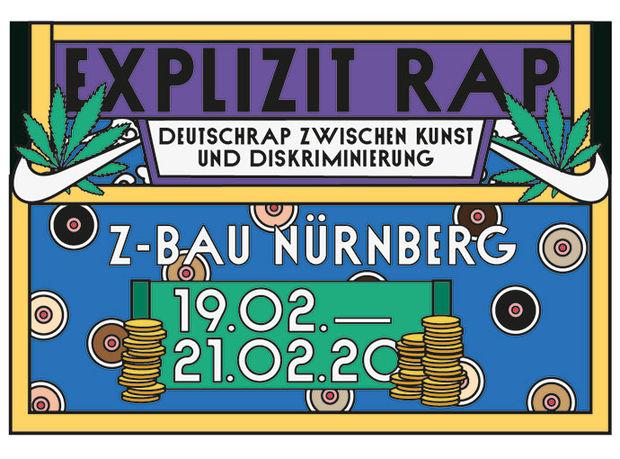 """Ein Buntes Plakat mit gezeichneten Elementen und dem Text: Explicit Rap. Deutschrap zwischen Kundt und Diskriminierung."""" es ist das Veranstaltungsplakat zur Fachtagung vom 19.-21.2. Februar 2020"""