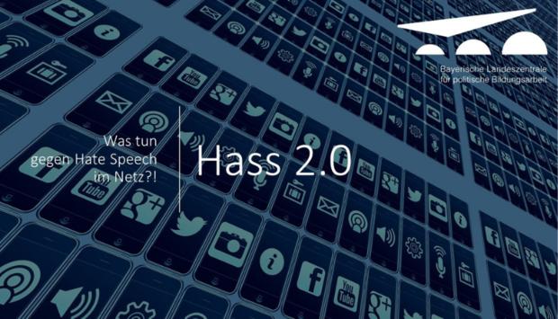 Im Hintergrund sind Social Icons und mit weißer Schrift steht der Veranstaltungstitel davor: Was tun gegen Hatespeech im Netz? Hass 2.0