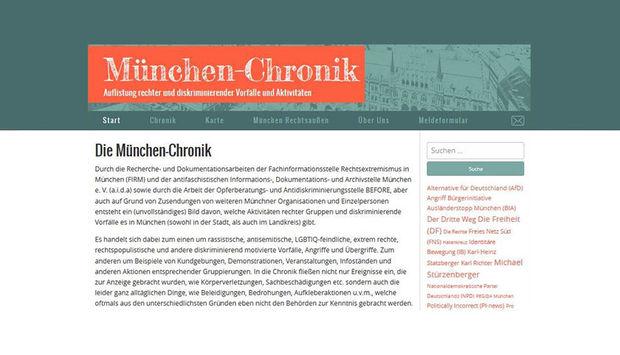 Abbildung eines Screenshots der Startseite der Webseite München-Chronik.