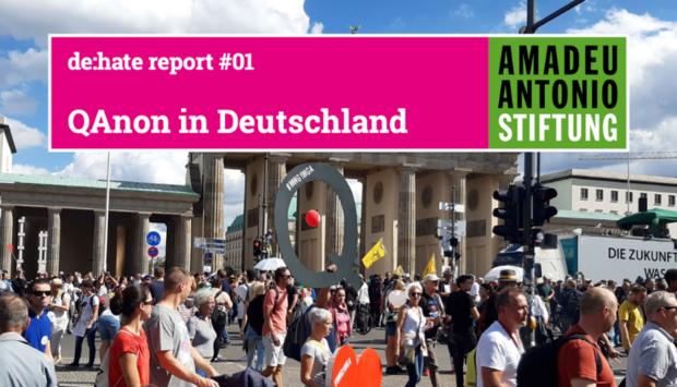 """Das Buchcover der Publikation """"QAnon in Deutschland"""". Ein Bild einer Demonastration gegen die Maßnahmen zur Pandemiebekämpfung."""
