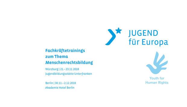 Das blaue Loge von Jugend EUROPA auf weißem Hintergrund neben den Veranstaltungsdaten.