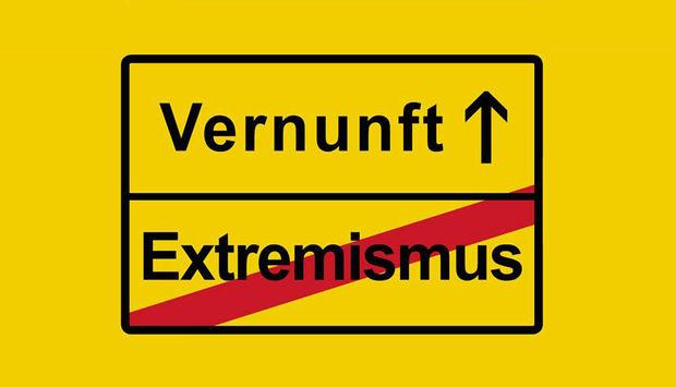 """Grafik eines gelben Verkehrsschildes mit der Aufschrift """"Vernunft"""" Pfeil nach vorn und """"Extremismus"""" rot durchgestrichen."""