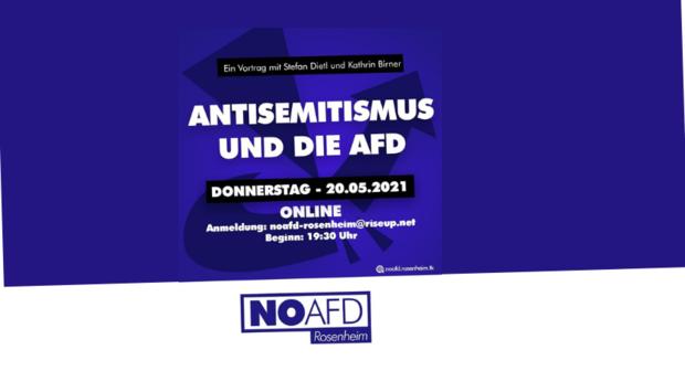 Das Veranstaltungsplakat mit dem Titel Antisemitismus und die AfD mit dem Logo des Bündnisses noAfD