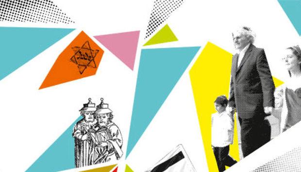 auf weißem Hintergrund gelbe, rote und blaue dreiecke. Ein Davidstern gezeichnet und ein gezeichneter älterer Mann mit ienem Kind an der Hand.