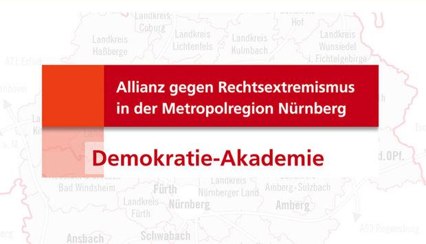 Das rote Logo der Allianz gegen Rechtsextremismus mit dem Titel der Vortragsreihe: Demokratie-Akademie