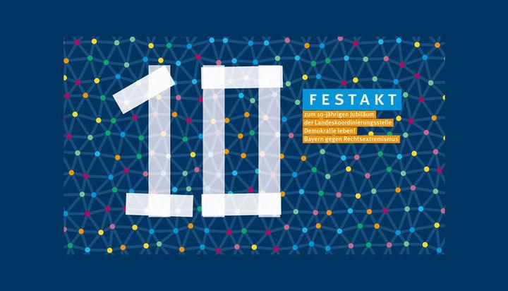 """Flyer mit dunkelblauem Hintergrund und farbigen Punkten, die netzartig verbunden sind. Darauf wie mit Tesafilm geklebt die Zahl """"10"""" und die Aufschrift """"Festakt""""."""