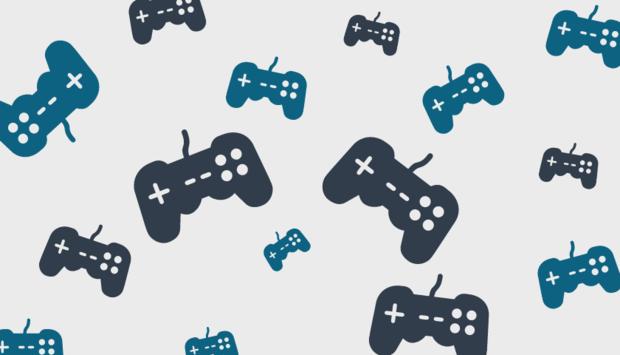 verschiedenfarbige Icons von Gaming-Controller als Symbol für Gaming.