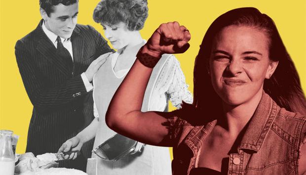 Ein Pärchen in schwarz weiß aus den 1950er Jahren steht im Hintergrund. Die Frau erledigt den Haushalt. Im Vordergrund steht eine junge Frau in bunter Farbe mit geballter Faust und bekämpft eben jenes Patriarchat aus den 1950ern.