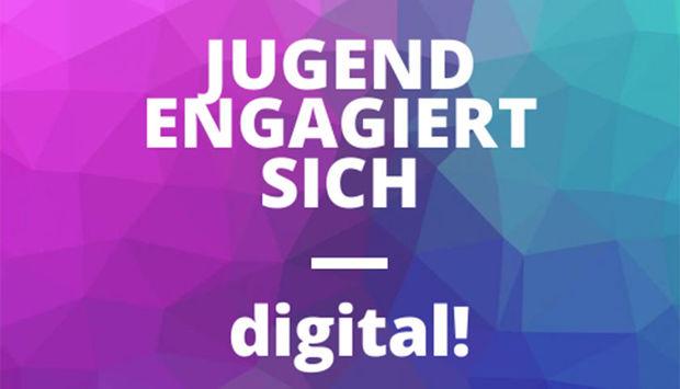 Vor dem prisma aus magenta und grün/blauen Farben steht weiß der Titel der Veranstaltung: Jugend engagiert sich – digital.