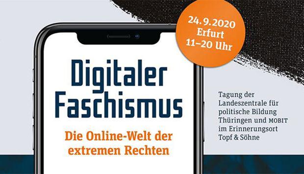 Das Veranstaltungsbild zeigt passend zum Tagungsthema den Titel auf einem Smartphone: Digitaker Faschismus. Die online Welt der extrem Rechten.