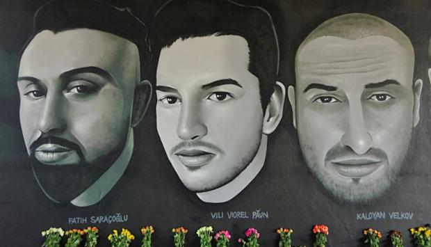 Ein Foto der Graffitos in Hanau mit dem Motiv: Die Opfer des rassistischen Anschlags am 19.02.2020 in Hanau