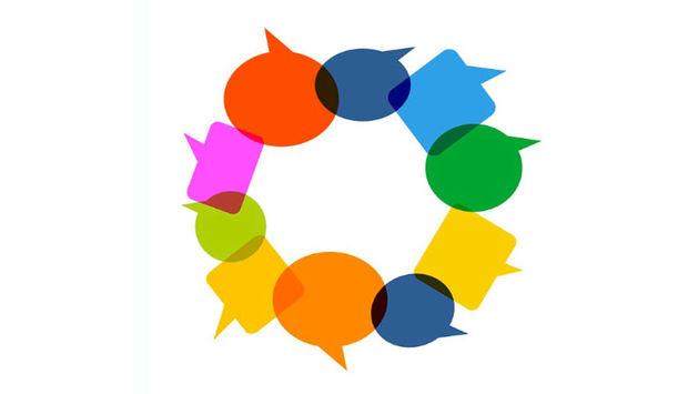 Ein Kreis aus bunten Sprechbalsen. Sie sprechen für Vielfalt.