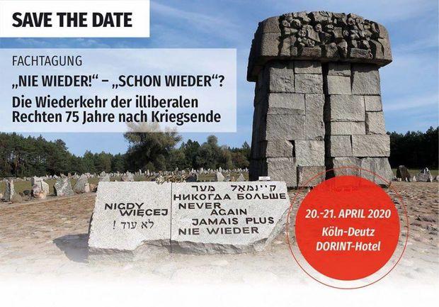 """Der Veranstaltungsflyer der Fachtagung """"Nie Wieder! Schon Wieder! am 20. und 21.04.2020"""