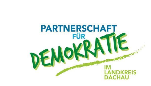 """Das Bild zeigt den Schriftzug """"Partnerschaft für Demokratie im Landkreis Dachau""""."""