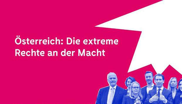 Auf der Linken Siete steht in weißer Schrift auf rotem Hintergrund folgender Text: Österreich: die extreme Rechte an der MAcht. Auf der Rechten Seite ist ein Foto mit verschiedenen Politiker_innen der FPÖ.