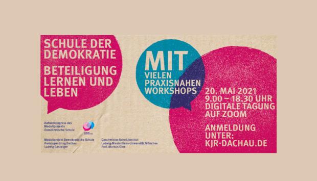 Ein buntes Veranstaltungsplakat mit roten und blauen Sprechblasen der Veranstaltung: Schule der Demokratie