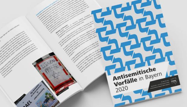 Ein Bild der Publikation von RIAS Bayern mit dem Titel: Antisemitische Vorfälle in Bayern 2020. Auf dem Cover sind hebräische Schriftzeichen.
