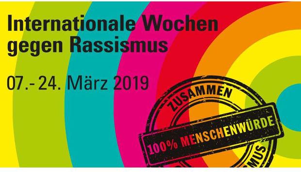 Das Logo der Internationalen Wochen gegen Rassismus auf bunten Kreisen. Die Wochen finden vom 7.-24.März 2019 statt.