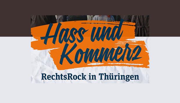 """Bild mit der Aufschrift """"Hass und Kommerz. RechtsRock in Thüringen""""."""