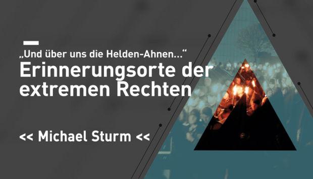 Ein hellblaues Dreieck auf grauem Hintergrund. Ein Bild mit Frauen, die den Hitlergruß zeigen rechts im Bild. In weißer Schrift der titel der Veranstaltung: Erinnerungsorte der extremen Rechten