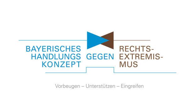 Das blau-braune Logo des Bayerischen Handlungskonzept gegen Rechtsextremismus.