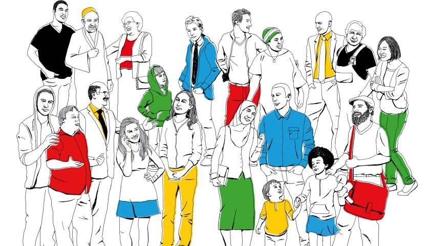 Das Bild zeigt eine Gruppe von Menschen gezeichnet, deren Kleidung teilweise bunt in den Farben des Bundesprogramms Demokratie leben! eingefärbt sind.