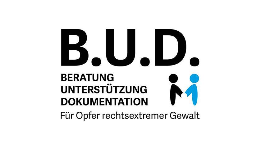Das Logo des Vereins B.U.D. Beratung Unterstützung Dokumentation. Für Opfer rechtsextremer Gewalt.