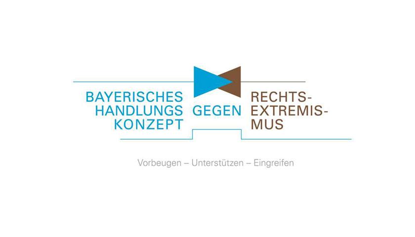 """Flyer mit Aufschrift """"Bayerisches Handlungskonzept gegen Rechtsextremismus"""", untertitelt """"Vorbeugen-Unterstützen-Eingreifen""""."""
